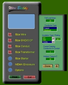 Iopath software wire buddy is an electricians tool for calculating wire size conduit size transformers over current protection and ground wire size keyboard keysfo Choice Image